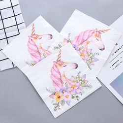 New White Beauty Flowers Unicorn Paper Napkins Cafe & Party Tissue Napkins Decoupage Decoration Paper 33cm*33cm 20pcs/pack/lot