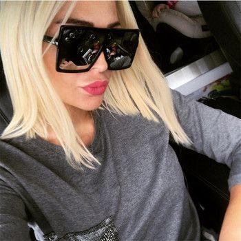 YOOSKE Oversized Sunglasses for Women Men Luxury Brand Designer Vintage Sun Glasses Female Male Big Frame Black Eyewear