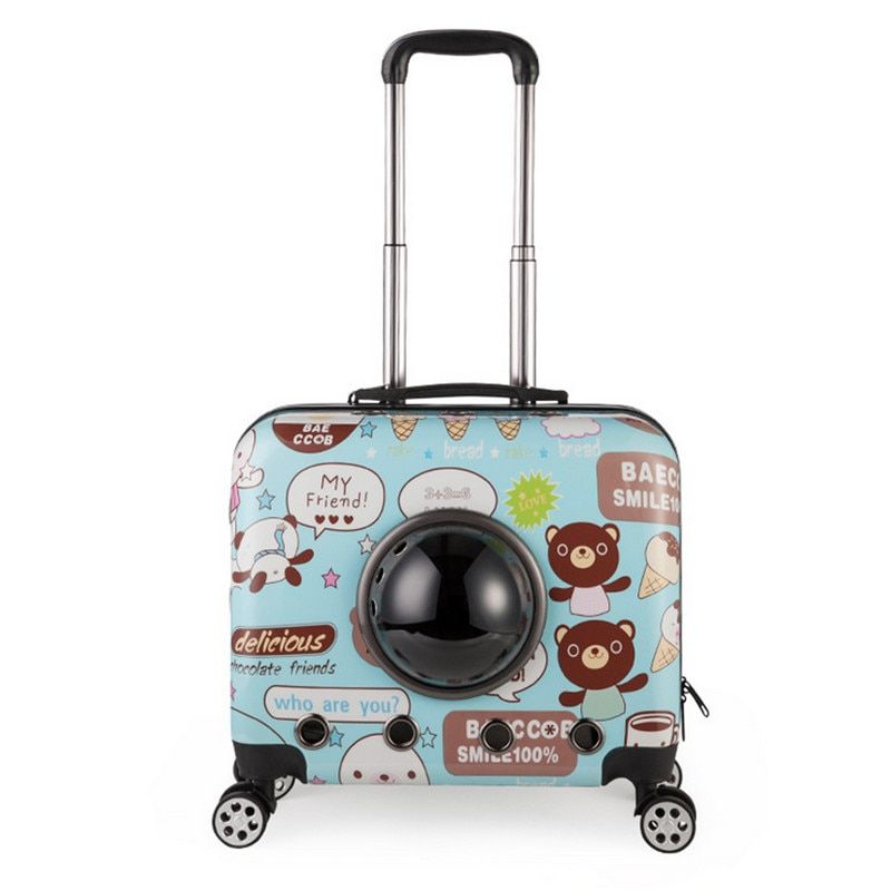 Small Animal Pet luggage on wheels dog Cat Carrier Travel Tote Trolley Bags for Dogs Stroller Luggage Free shipping
