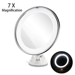 RUIMIO 7X Loupe Maquillage Miroir Cosmétique LED De Verrouillage Ventouse Lumineux Diffus Lumière 360 Degrés de Rotation Cosmétique Maquillage
