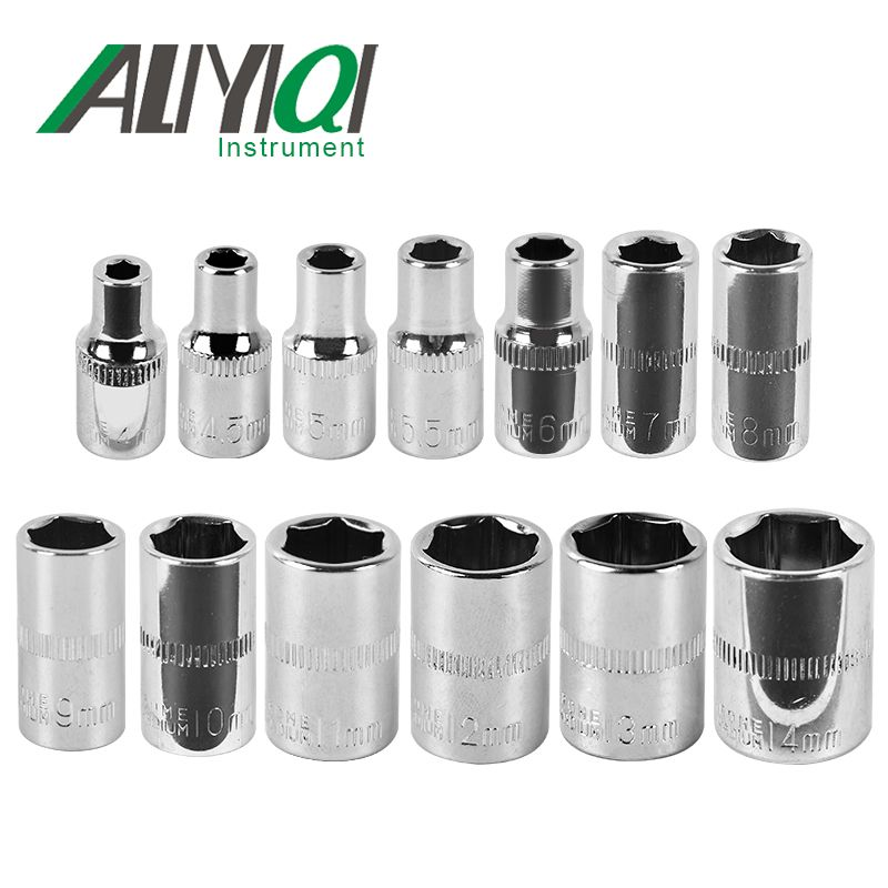 Aliyiqi 1/4 Socket Wrench Head Sleeve Double EndHand Tools 4mm~14mm Hexagon short sleeve