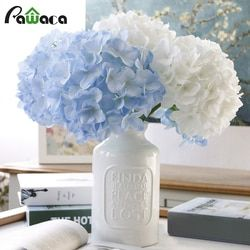 Nuevo falso flor casa escritorio decoración pompom flores de seda bouquet hydrangea flores artificiales de plástico para café decoración de la boda del partido