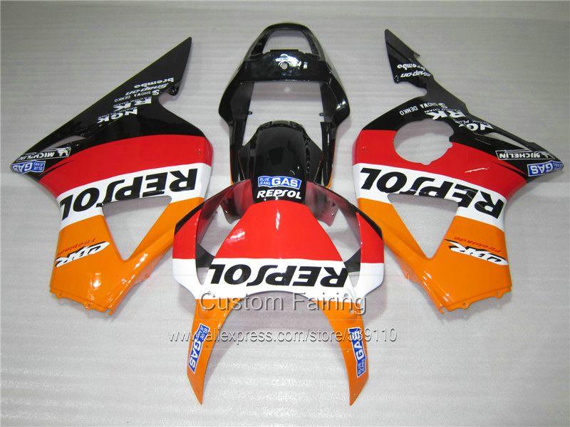 Top selling plastic Fairing kit for Honda CBR954RR 02 03 orange black fairings set CBR954RR 2002 2003 TU13