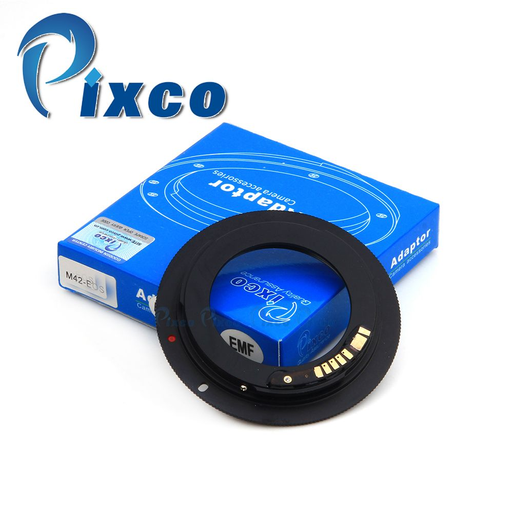 Pixco EMF AF Confirm Non-autofocus L.ens Adapter Suit For M42 Mount to C.anon E.OS Camera 7D Mark II 5DIII 650D 60D 700D