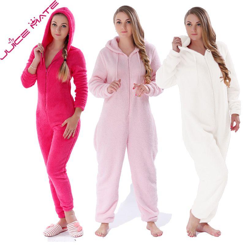 Winter Warm Pyjamas Women Onesies Fluffy Fleece Jumpsuits Sleepwear Overall Plus Size Hood Sets Pajamas Onesie For Women Adult