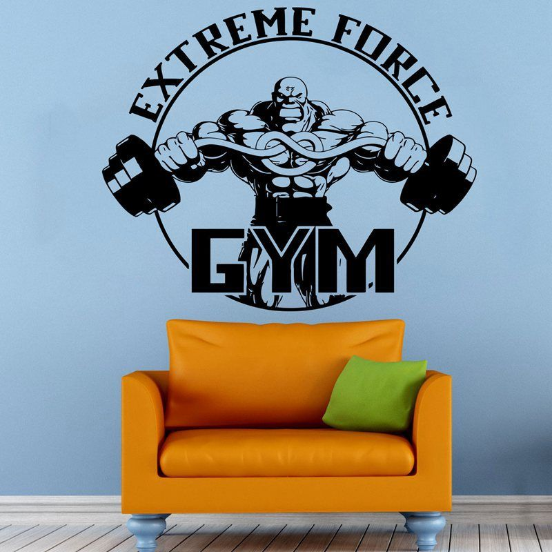 Gym Sticker Barbell Fitness Decal Body-building Posters Vinyl Wall Decals Pegatina Quadro Parede Decor Mural Gym Sticker