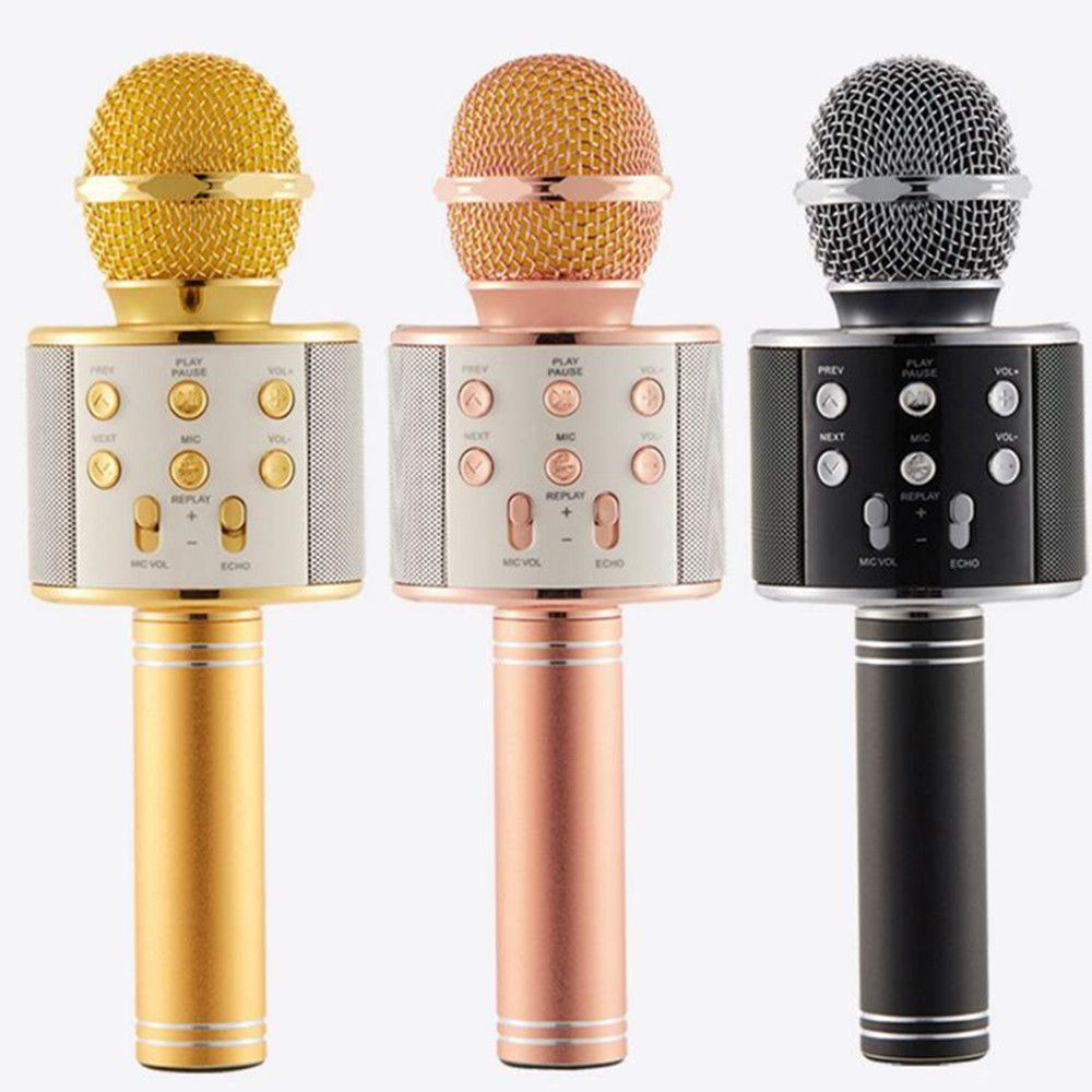 FGHGF mikrofon WS858 Bluetooth Sans Fil Condenseur Magique Karaoké Microphone Mobile Téléphone Lecteur MICRO Haut-Parleur Enregistrer de La Musique