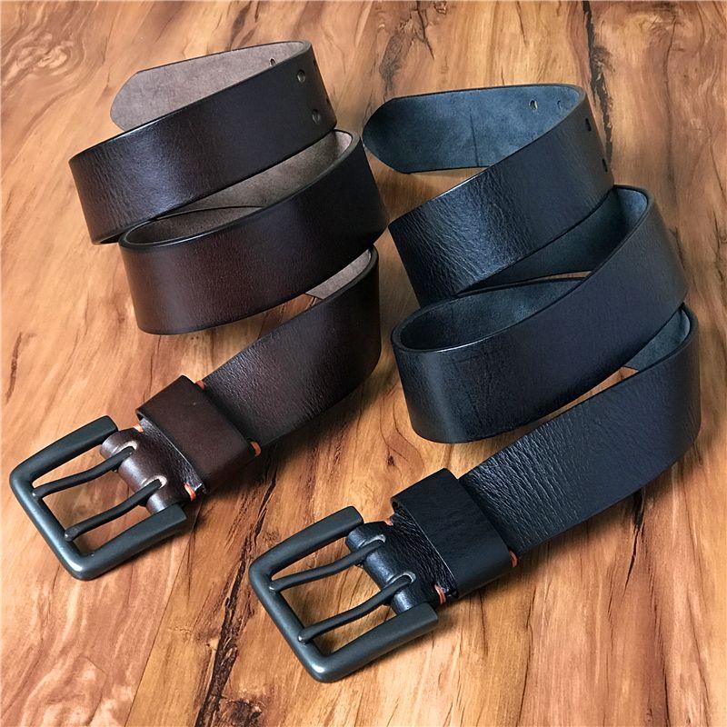 Super Wide 4.2CM Genuine Leather Men Belt Mens Belts Luxury Double Pin Vintage Belt Buckle Ceinture <font><b>Homme</b></font> Jeans Belt MBT0018