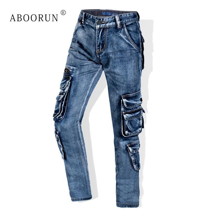 ABOORUN Men's Retro Cargo Jeans Multi Pockets Washed Straight fit Denim Pants Men's Brand Overalls Jeans x1650