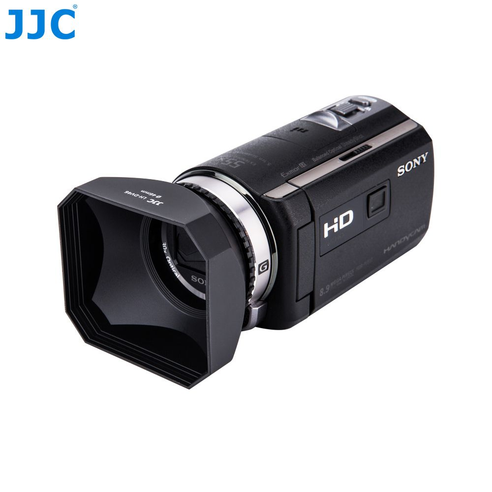 JJC 46mm Camcorder DV Screw Hood Video Camera Lens Hood With Lens Cap and Keeper for Canon Sony Panasonic JVC