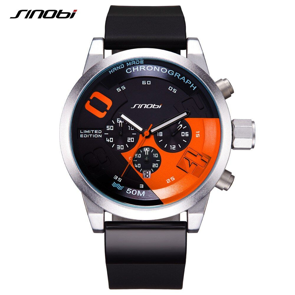 Sinobi dial grande diseño cronógrafo deporte hombre relojes marca de moda Militar impermeable reloj de cuarzo reloj Relogio Masculino
