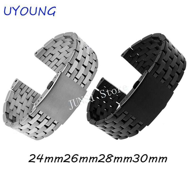 UYOUNG Bracelet de montre en acier inoxydable solide de qualité pour Diesel pour hommes 24mm 26mm 28mm 30mm Bracelet en acier noir