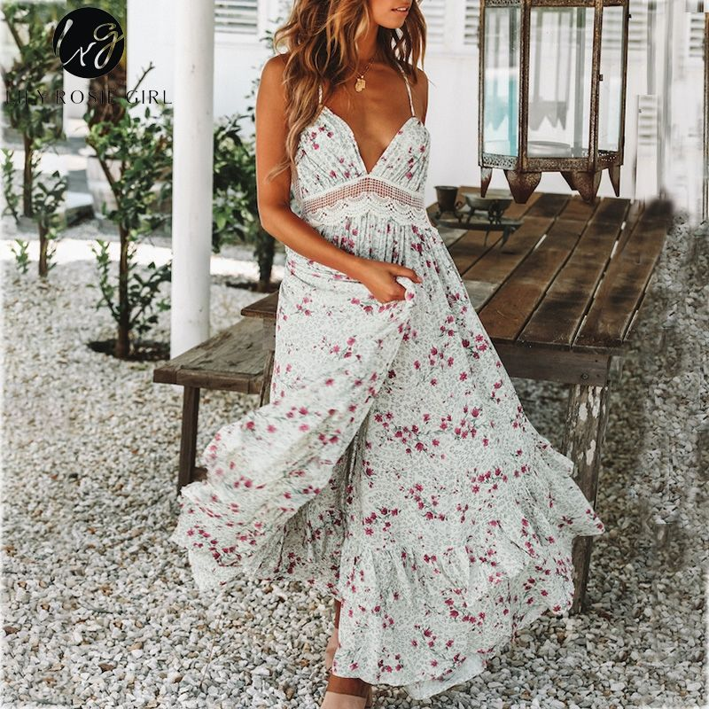 Lily Rosie Girl Deep V Neck Sexy Beach Dress Print Boho Floral Causal Dress Ruffles Hollow Out Backless Lace Long Dress Vestidos