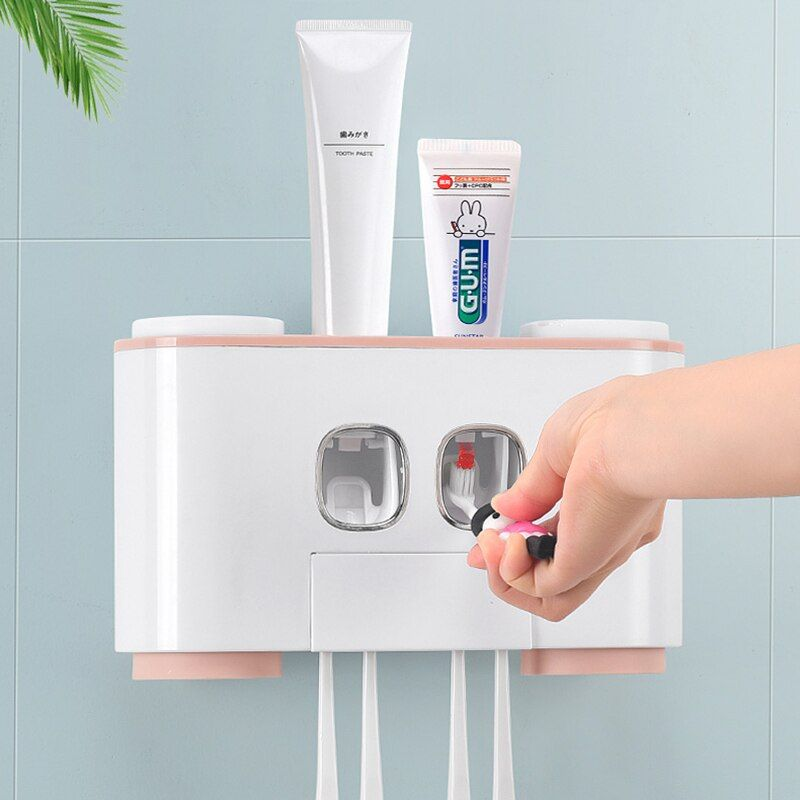 Bathroom Accessories Set Automatic Toothpaste Dispenser Squeezer Toothbrush Holder Cups Seamless Wall Mounted Storage Organizer