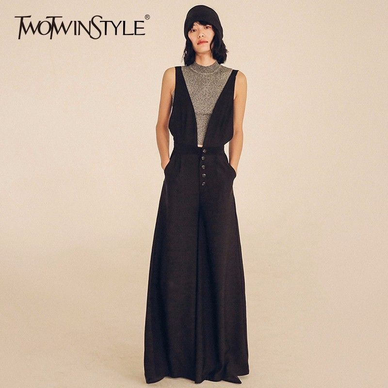TWOTWINSTYLE Wide Leg Jumpsuits For Women High Waist Large Size X Long Suspenders Trouser 2018 Spring Fashion New Clothing