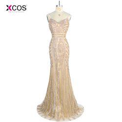 Robe de Soiree Longue 2018 Luxus Straps Gold Abendkleid Meerjungfrau Kristall Perlen Glitter Formale Kleider Lange Abendkleider