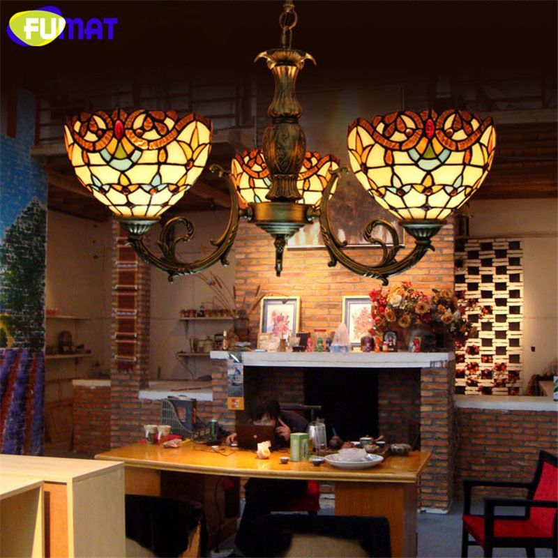FUMAT Baroque Glass Lamp Retro Stained Glass Pendant Light For Living room Corridor Light Bedroom Vitrage Mosaic glass Lamp