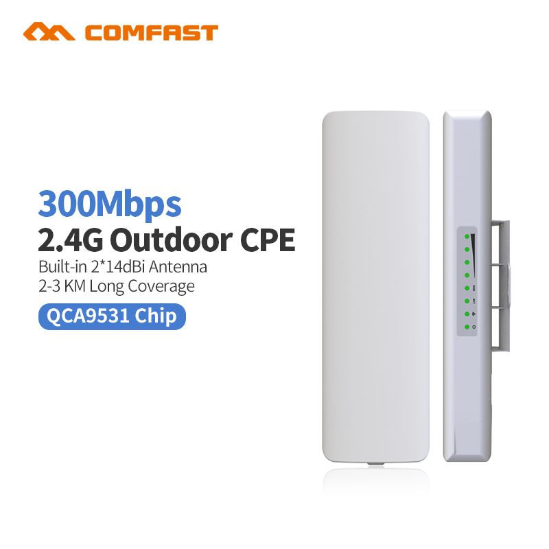 Comfast CF-E314 2.4G Outdoor CPE bridge 300M Long Range Signal Booster Extender 3km Wireless AP 2*14dbi Wifi Repeater Nanostatio