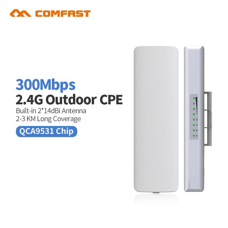 Comfast CF-E314NV2 extérieur CPE pont 300 M longue portée Signal Booster Extender 3 km sans fil AP 2 * 14dbi Wifi répéteur Nanostatio