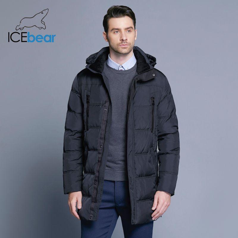 ICEbear 2018 Top Qualität Warm herren Warme Winter Jacke Winddicht Casual Oberbekleidung Dicken Medium Langen Mantel Männer Parka 16M899D