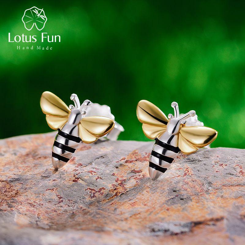 Lotus Fun réel 925 boucles d'oreilles en argent Sterling Designer bijoux fins belle 18K or miel abeille boucles d'oreilles pour les femmes cadeau Brincos