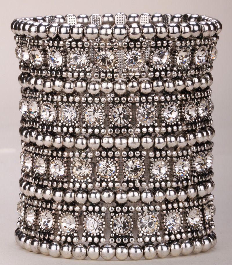 Многослойные стрейч Браслет-манжета Женщины Кристалл Свадебные ювелирные изделия B12 4 ряд старинное серебро цвет; Прямая поставка; оптовая ...