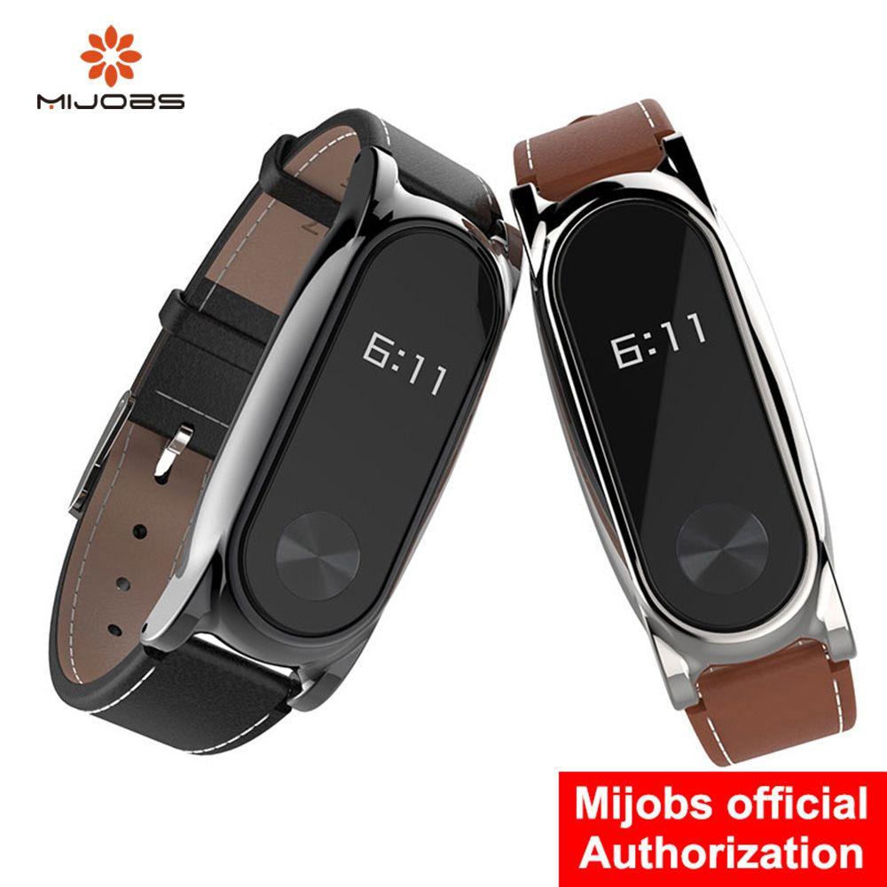Mijobs Wrist Strap Leather For Xiaomi Mi Band 2 Screwless Wrist Strap Bracelet Smart Band Replace For Mi Band 2