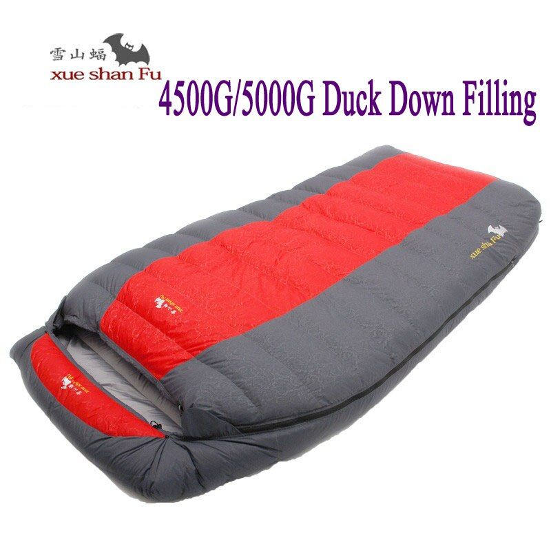 High quality double person 4500g/5000g duck down filling waterproof comfortable camping sleeping bag