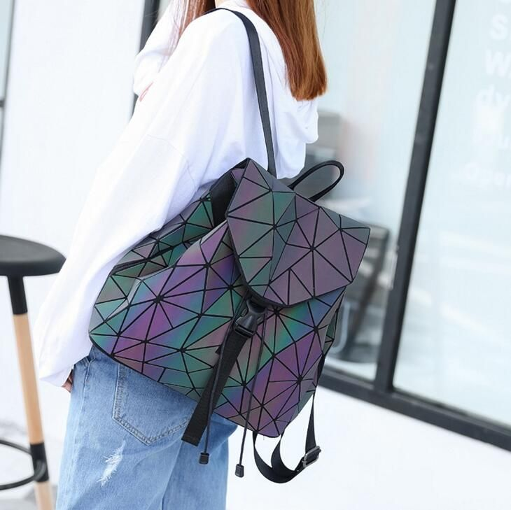 Maelove Luminous backpack 2018 New women's backpack Noctilucent Bag Student's geometry lattic hologram Backpack Free Shipping