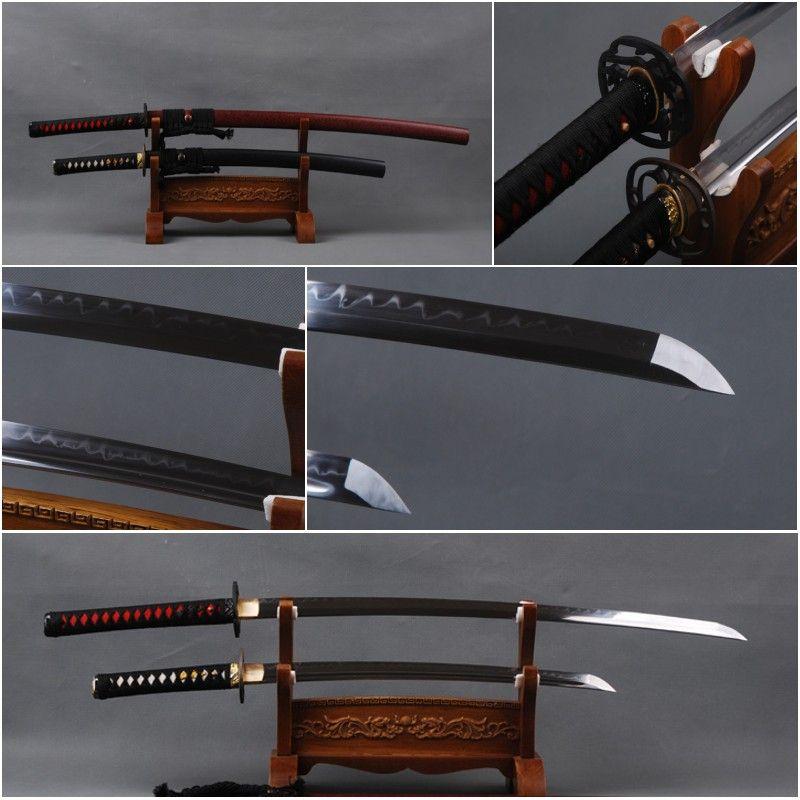 Handmade Decoration 1095 Carbon Steel Clay Tempered Blade Japanese Samurai Swords Set Full Tang Sharp Katana & Wakizashi