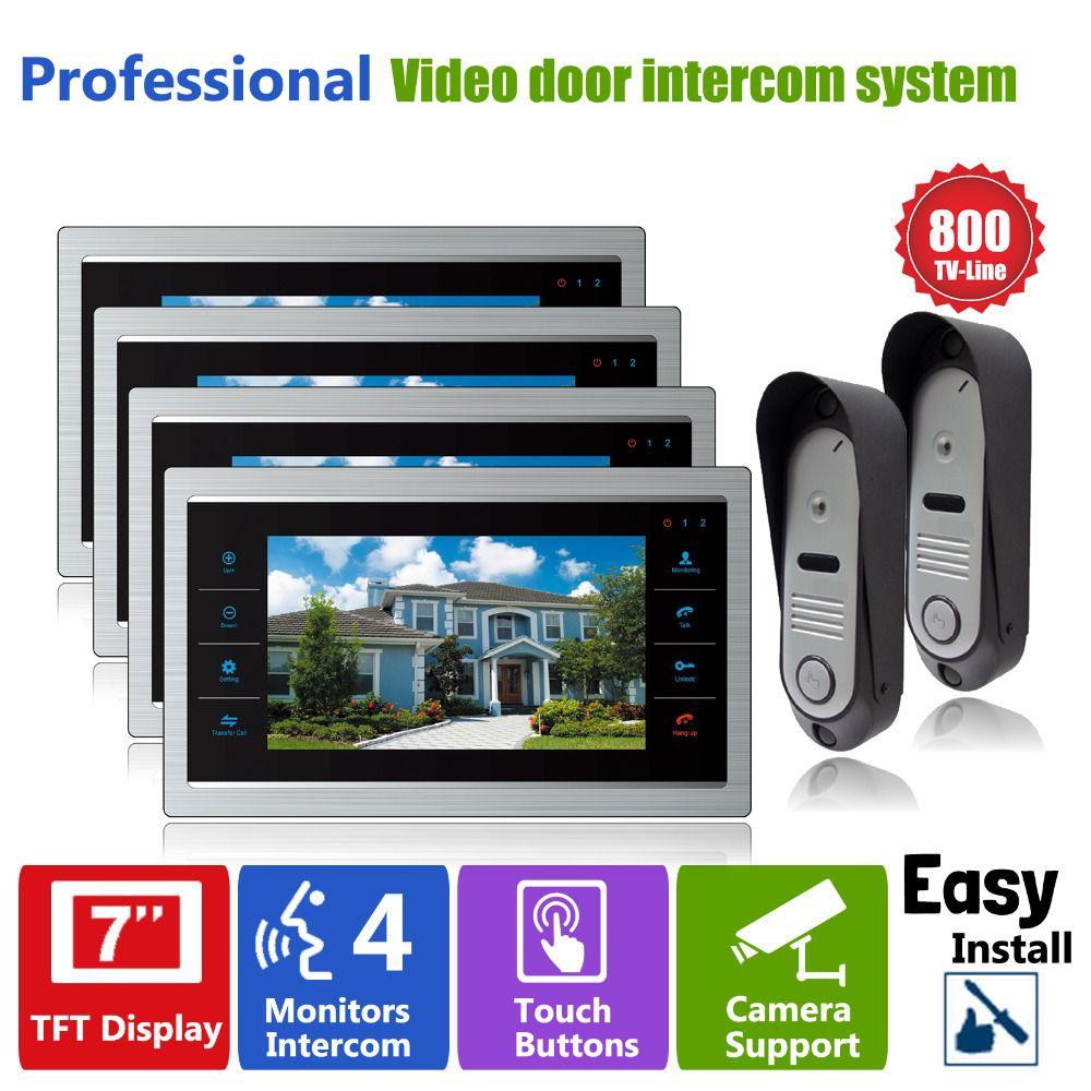 Homefong Intercom Phone System with 2 Doorbell Camera and 4 Indoor LCD Screen Monitor 7 Inch Door Phone Doorbell Intercom Kit