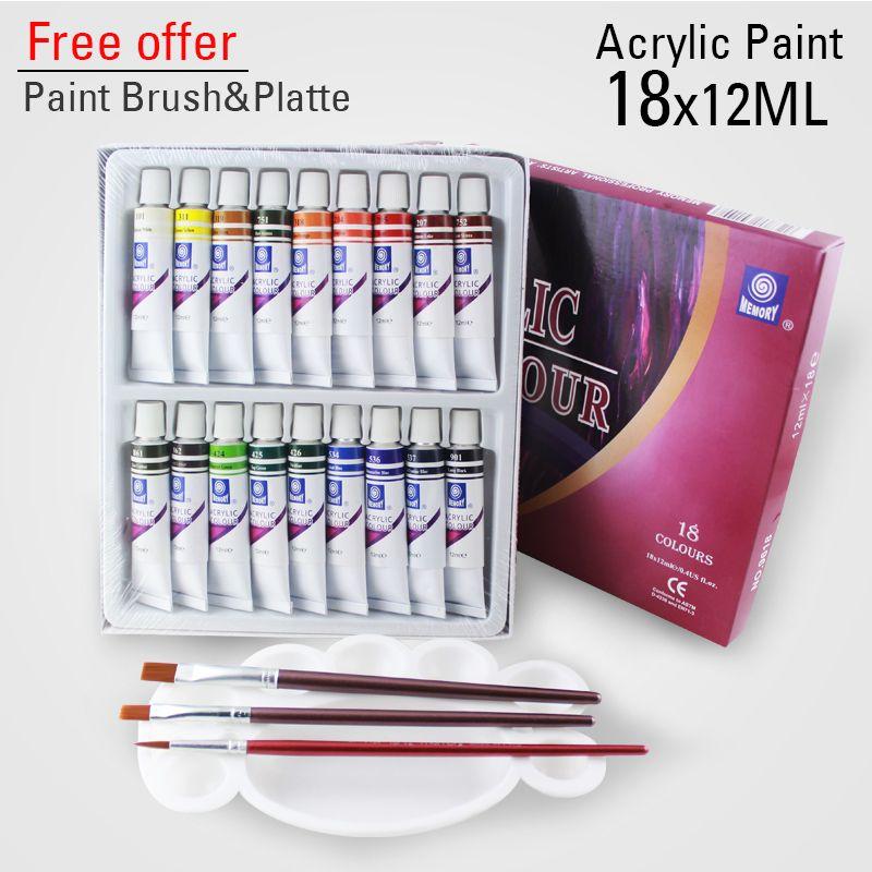 18 couleurs 12 ML couleur ensemble peinture acrylique céramique peinture verre peinture couleur verre dessin Pigments peints à la main