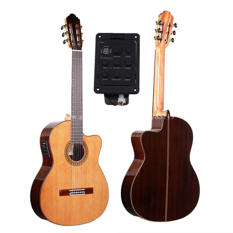 39 zoll Cutaway Handgemachte Elektrischen Spanisch gitarre, VENDIMIA Solide Zeder/Palisander Akustische guitarras + SAITEN, Klassische gitarre