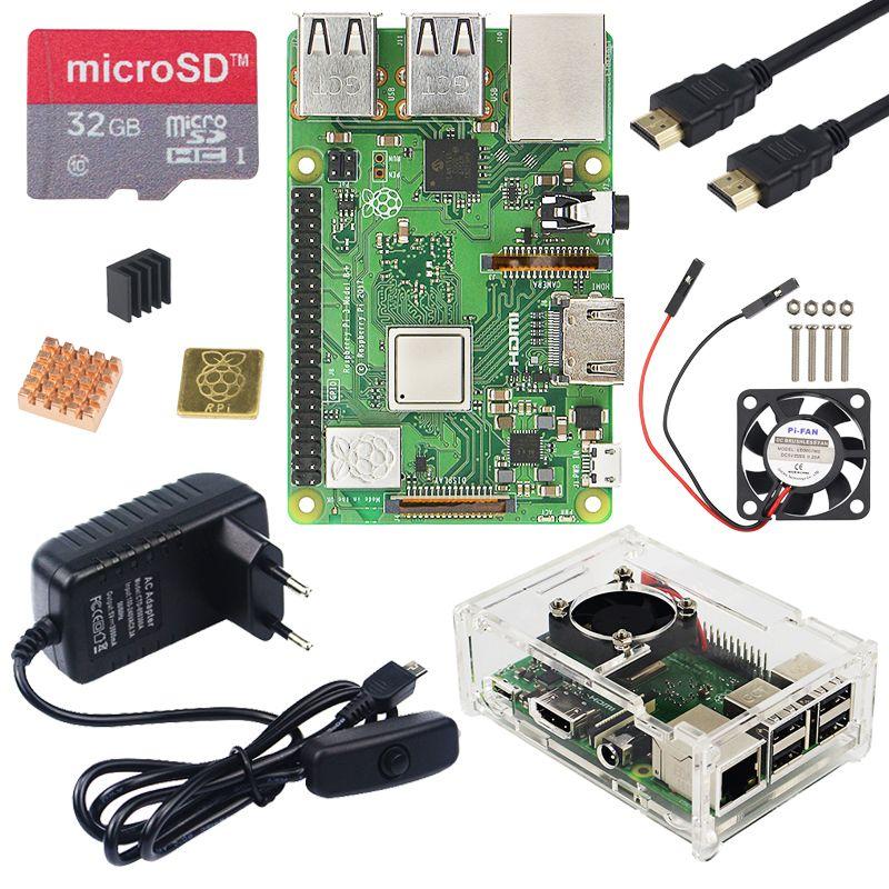 Original UK Raspberry Pi 3 modèle B Plus kit WiFi & Bluetooth avec adaptateur secteur 3A boîtier acrylique refroidisseur mieux que Raspberry Pi 3B