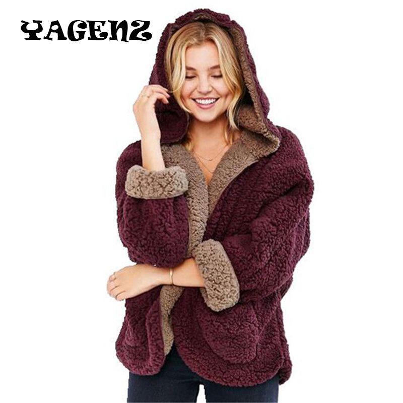 Шерсть свободные свитера модные зимние Для женщин ягнят Шерстяное пальто обе стороны носить куртка свободные рукава летучая мышь Повседне...