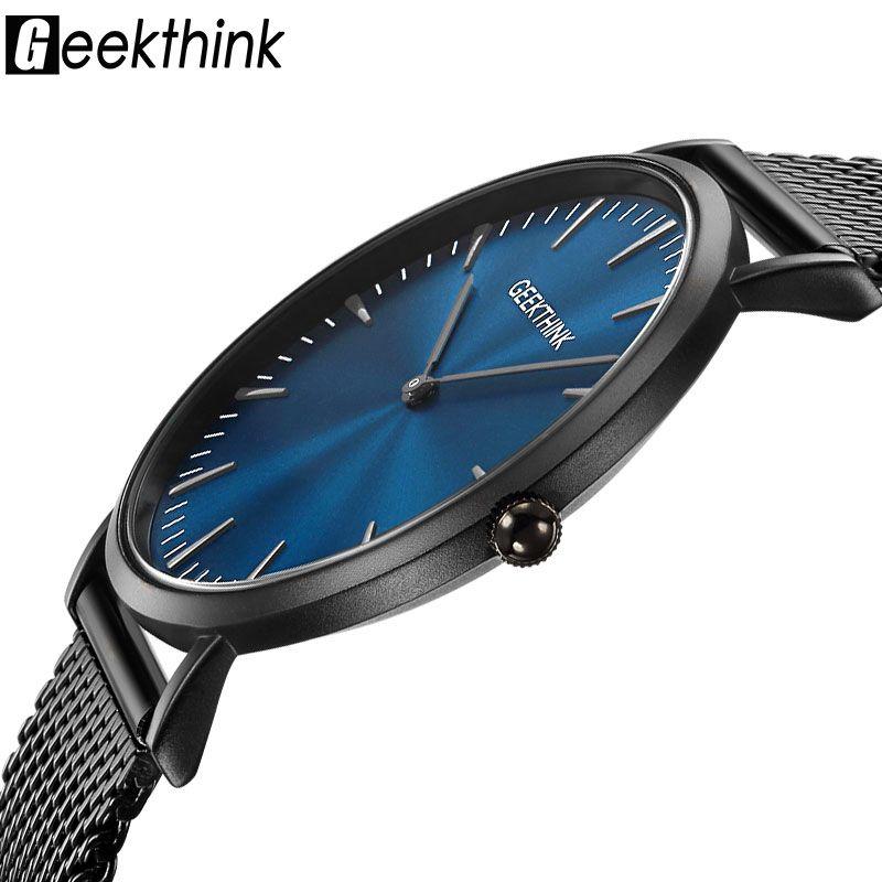 Geekthink Top lujo marca Relojes de cuarzo hombres completa de acero inoxidable clásico milimalist diseñador wrsitwatch madera Cara reloj