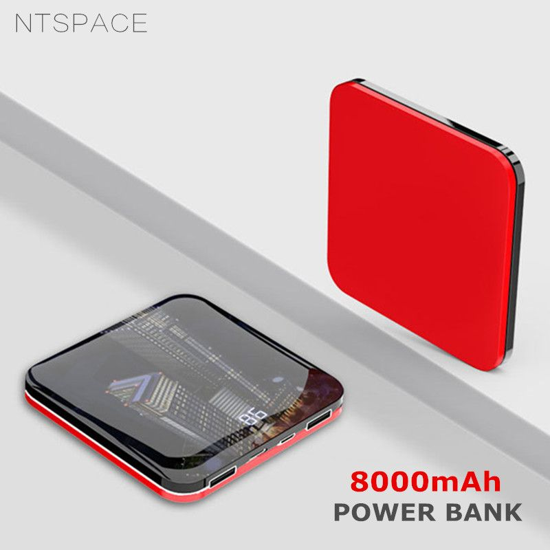 8000mAh Mini Power Bank 2.0A Quick Charge Powerbank Dual-USB Portable Mirror Aluminium Fast Charging Mini Power External Battery