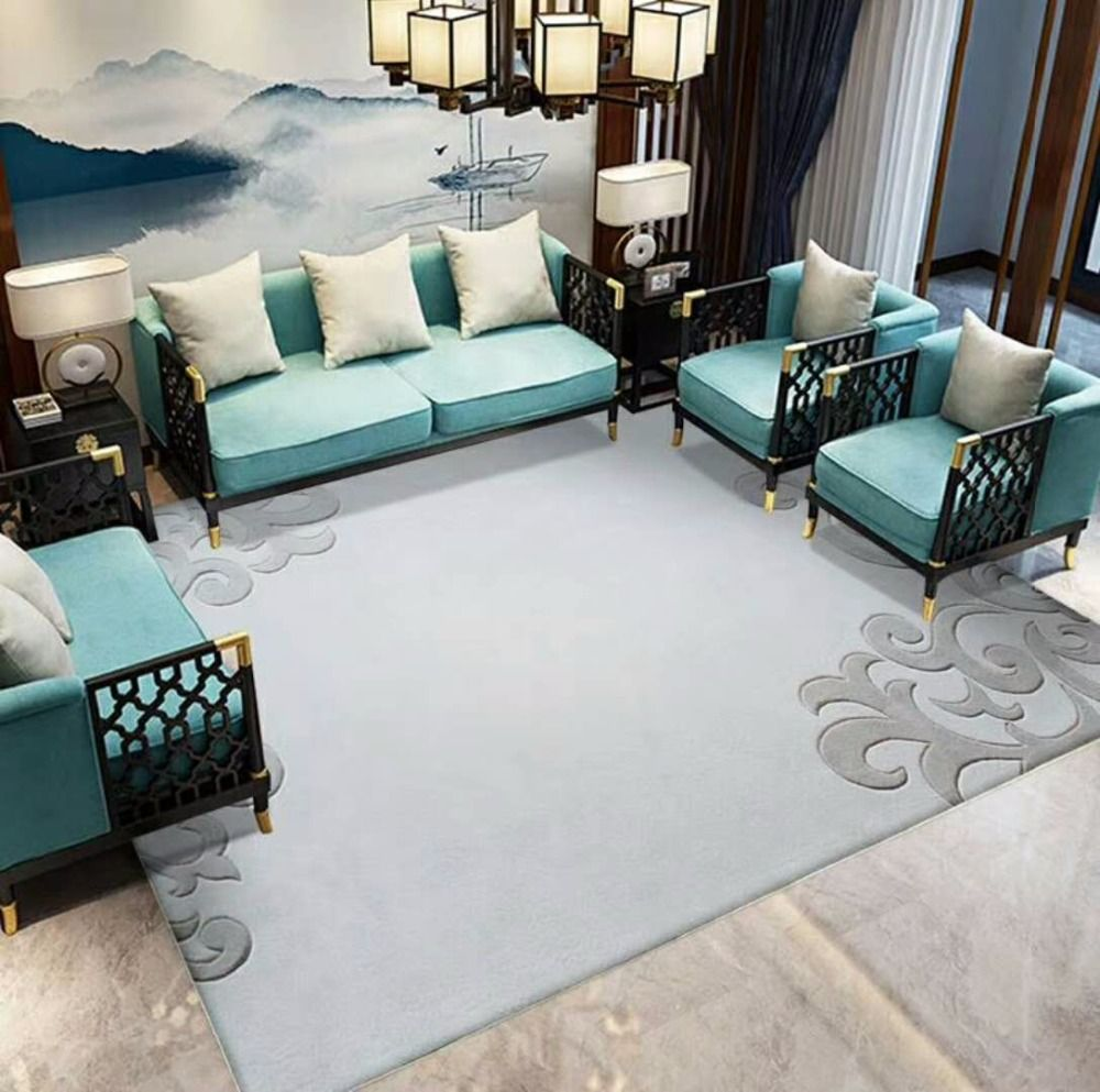 Simple and stylish carpets for Parlor European rugs Modern Luxury Large size Custom European carpet 100% wool mats Grey carpets