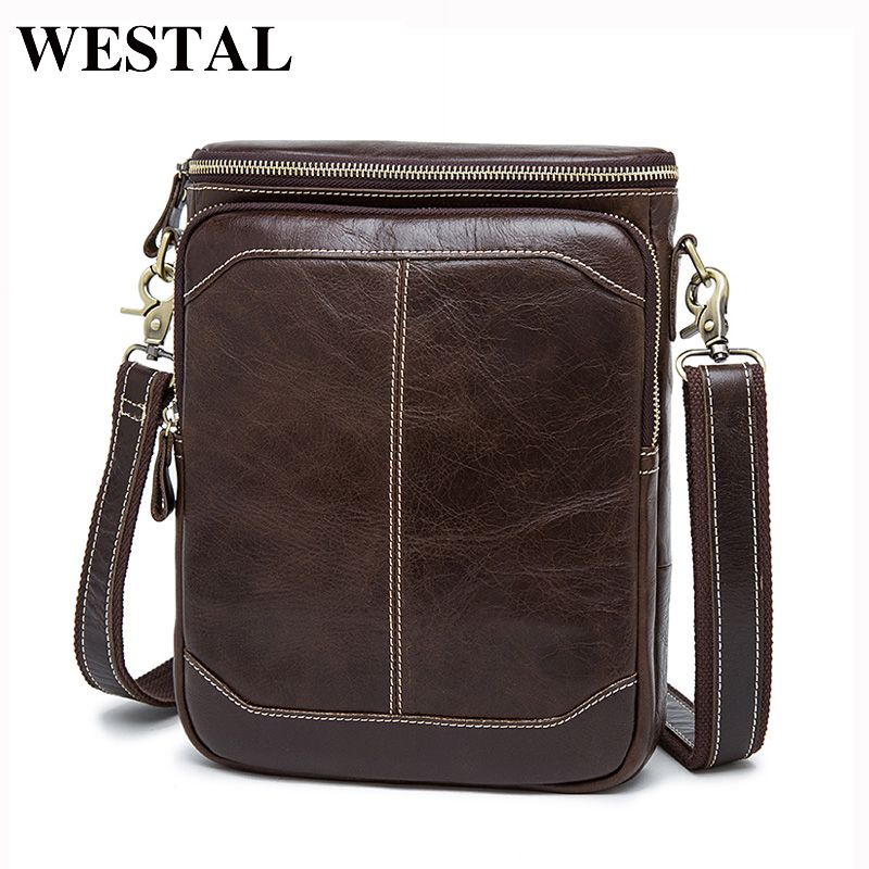 WESTAL Men's Genuine Leather Bags male men Crossbody bags Casual small Messenger bag men's shoulder bag for men leather 8003