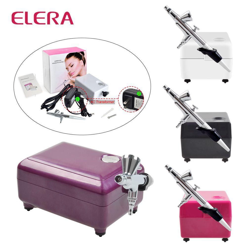 ELERA Airbrush Compressor Kit Portable Tattoos Make up Cake Decorating Airbrush Air Compressor for Nail Art and Makeup Painting