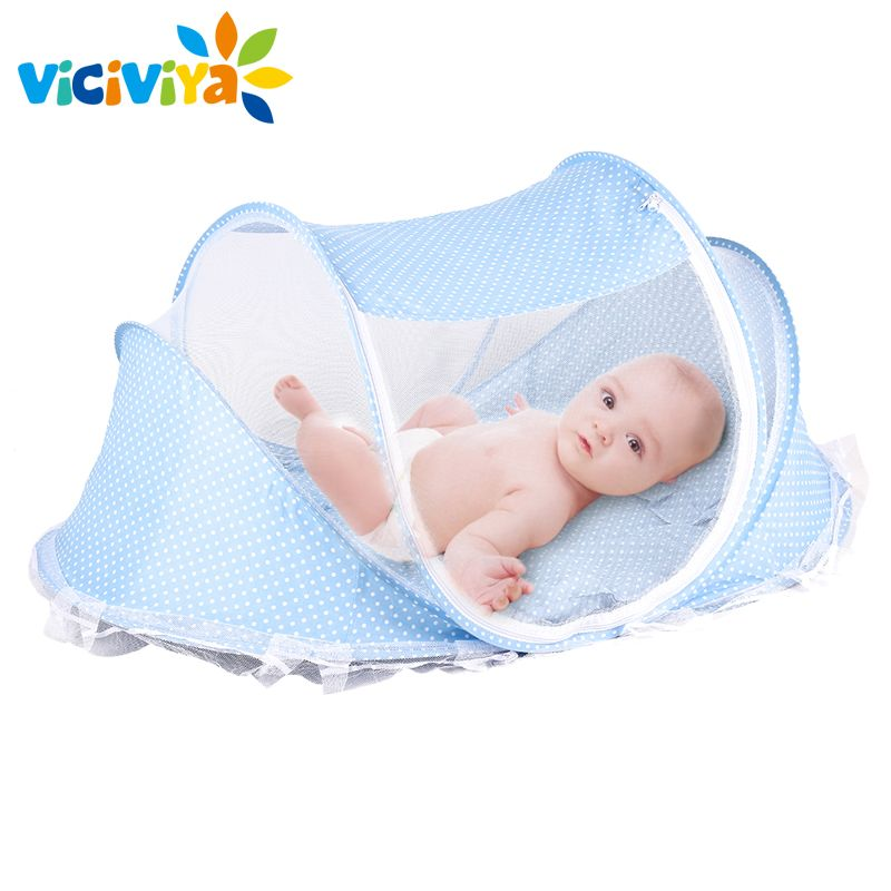 Baby Crib Baby Bed With Pillow Mat Set Portable Foldable Crib With Netting Newborn Infant Bedding Sleep Travel Bed#