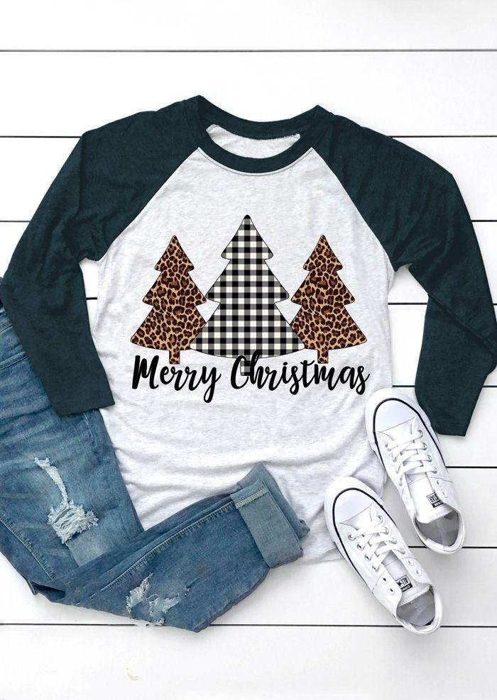 2018 mode femmes T-Shirt joyeux noël arbre Plaid léopard imprimé femme Baseball T-Shirt mignon T-Shirt décontracté dames hauts T-Shirt