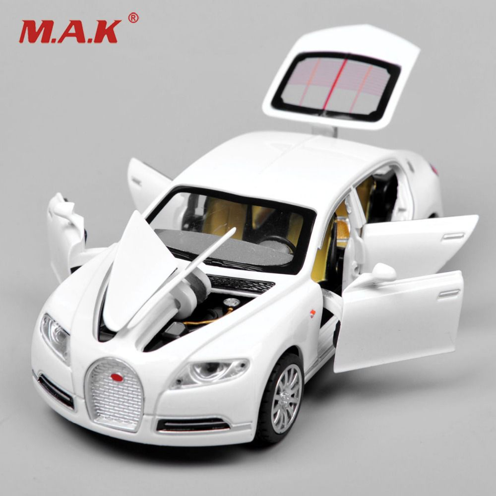 Metal Alloy Diecast 1:32 Scale Bugatti Veyron with Battery Light Sound <font><b>Pull</b></font> Back Model Vehicle Car Toys for Kids Boys