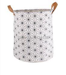 Vente chaude coton tissu pliable panier à linge avec PU poignée, storeage panier avec deux poignées