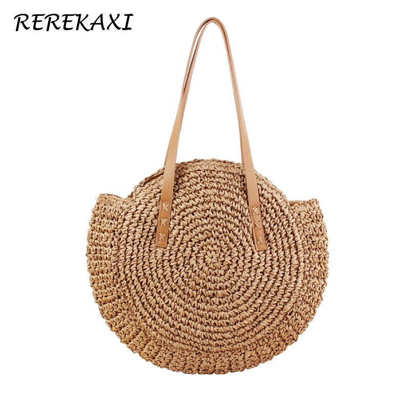 REREKAXI sac à bandoulière femme rond tissé à la main sac à main bohème été paille sac de plage voyage Shopping femme fourre-tout sacs en osier