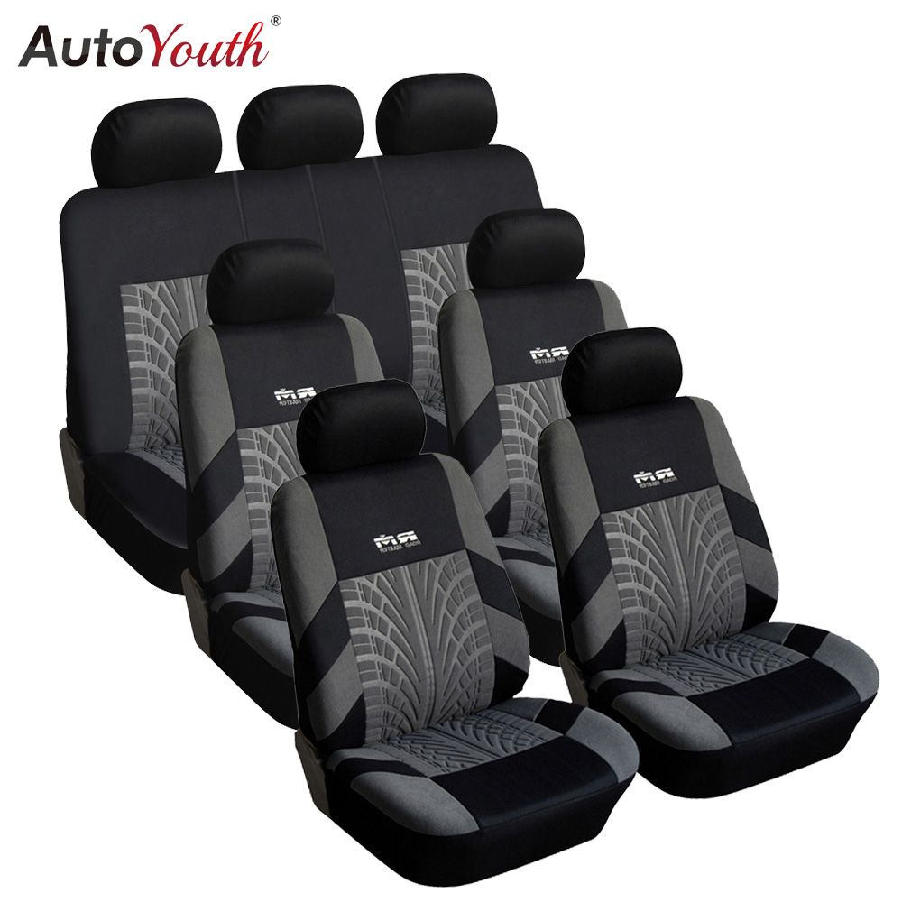 7PCS Track Detail Style Car Seat Covers Set Polyester Fabric Universal Fits Most Cars Covers Car Seat Protector
