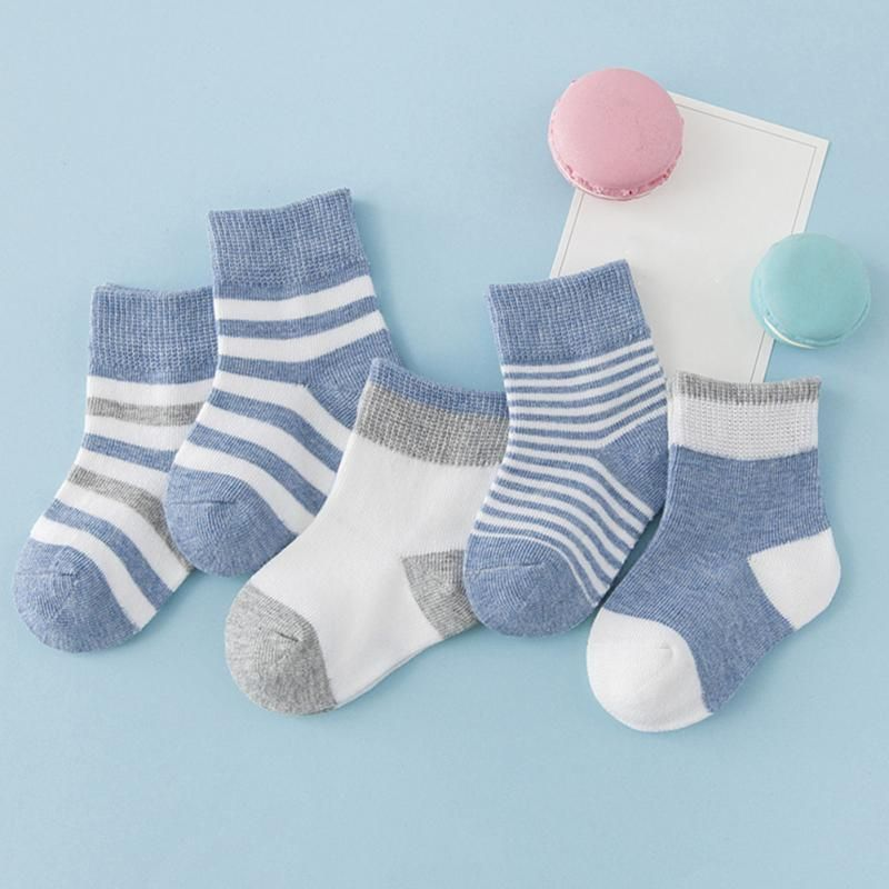 2019-01--2019-10 NEW Sport Socks Boys Girls Autumn Winter Cotton Candy Colors Stripes Breathable Stylish Infant Kids SPORT