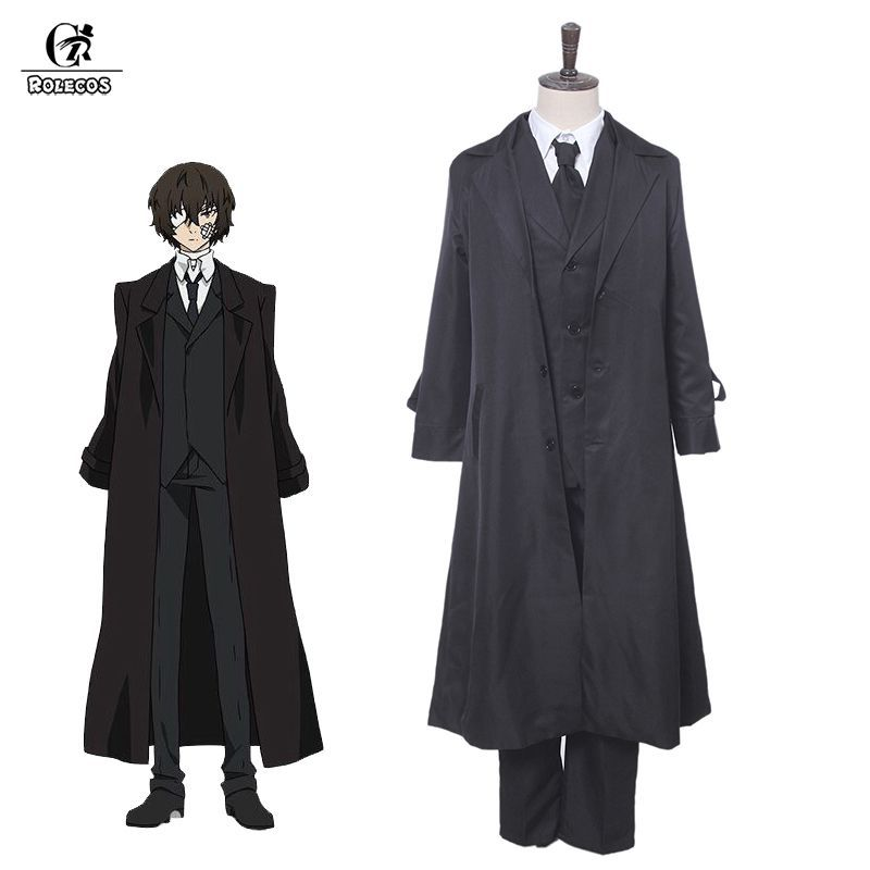 ROLEOCS Anime Bungou Chiens Errants Cosplay Costume Dazai Osamu Cosplay Costume Homme Trench Noir Pantalon Cravate 4 pièces Ensembles Tenue Halloween