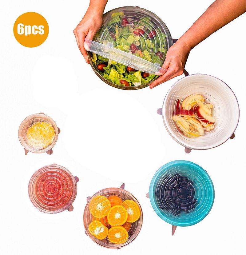 Couvercle de stockage de nourriture de couvercles extensibles de Silicone de 6 pièces/ensemble pour des couvercles de Silicone de bol accessoires de cuisine de scelleur de couvercle de vide