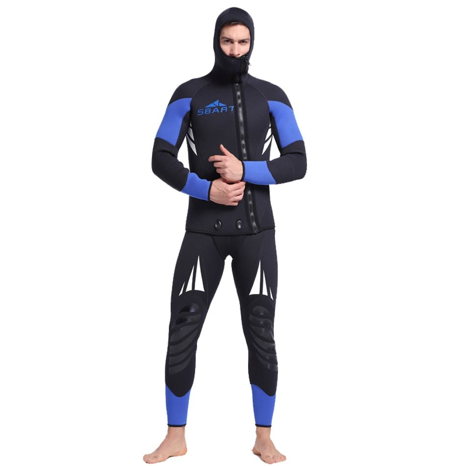 Bonverano Men's 5mm Neoprene Warm UPF 50+ Long Sleeves Wetsuit Zipper Two Pieces Diving Suit in Black Blue